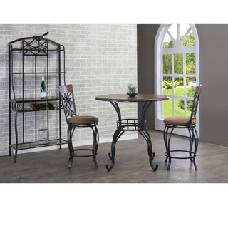 Ibiza Wood and Metal 4-Piece Contemporary Counter Set with Baker's Rack