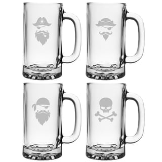 Pirate Faces 16-ounce Pub Beer Mugs (Set of 4)