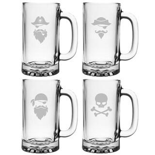 Pirate Faces Pub Beer Mugs (Set of 4)