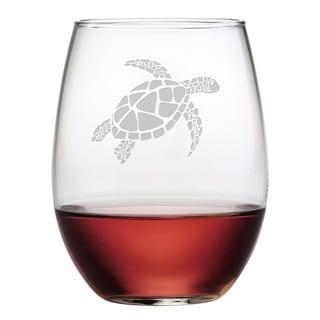 Sea Turtle 21-ounce Stemless Wine Glasses (Set of 4)