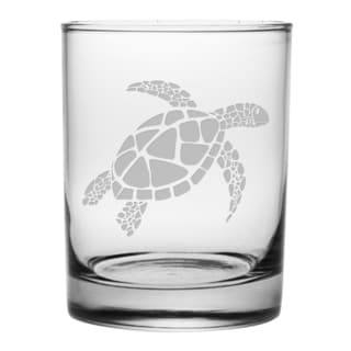 Sea Turtle 14-ounce Rocks Glasses (Set of 4)