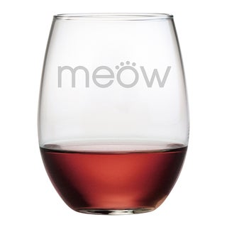 Meow 21-ounce Stemless Wine Glasses (Set of 4)