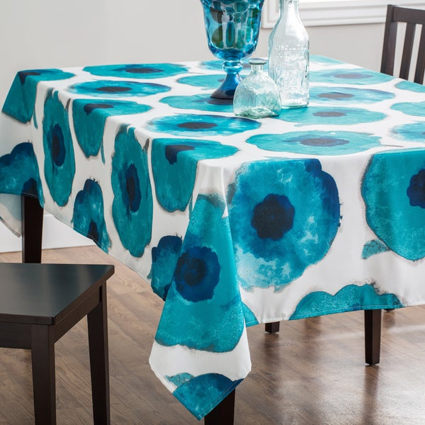 Indoor/Outdoor Maya Blue Watercolor Floral Tablecloth