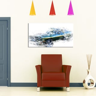 Blue and Green Muscle Car, 32 x 16-inch Canvas