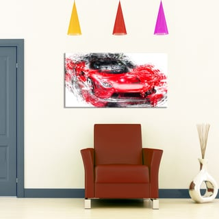 Red Exotic Car, 32 x 16-inch Canvas