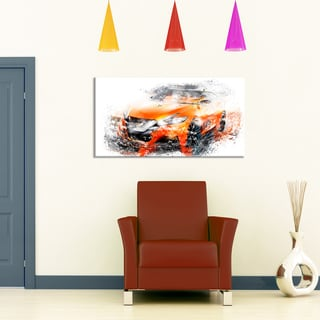 Orange Rally Car, 32 x 16-inch Canvas