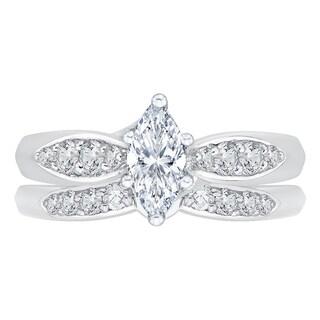 14k White Gold 1ct TDW Diamond Bridal Ring Set (G-H, I1-I2)