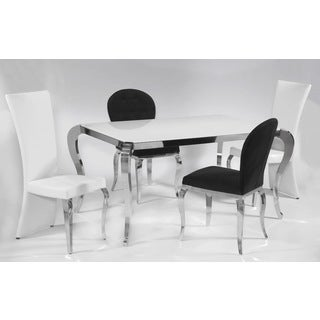 Somette Tabitha White Starfire Dining Set with Black Oval Chairs (Set of 5)