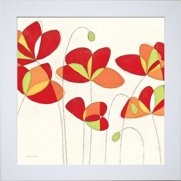 Sarah Faulker 'Poppy Field Square I ' Framed Artwork