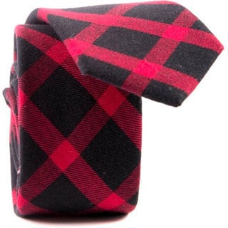 Southern Gents Men's 'Reed' Red and Black Gingham Slim Tie