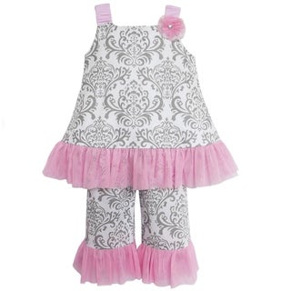 Ann Loren Boutique Girls' Grey and Pink Damask 2-piece Tunic with Capris
