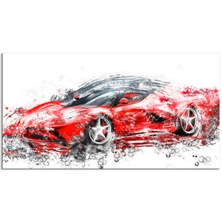 Sleek Red Sports Car, 32 x 16-inch Canvas