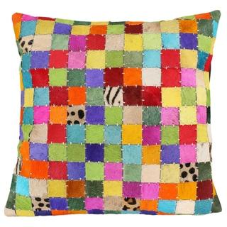 Matador Mutli-color Block Leather Hide Pillow