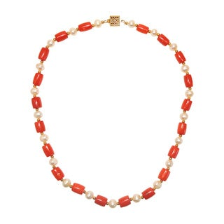Oval Red Apple Coral Freshwater Potato Pearl Necklace (6-6.5 mm)