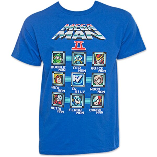 Capcom Men's Mega Man Characters Video Gamer II Old School Blue T-shirt