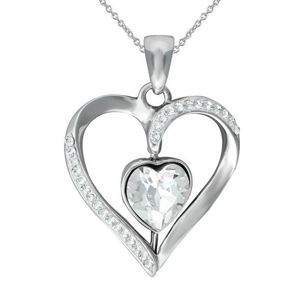 Silvertone Brass SWAROVSKI Crystal Heart Pendant