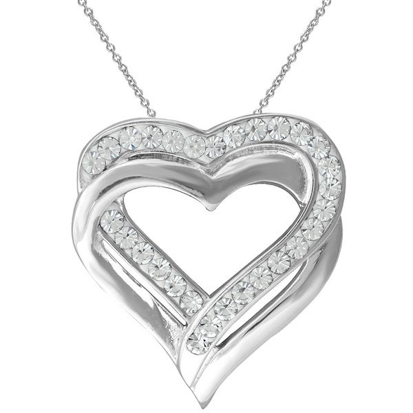 Silvertone Brass Swarovski Crystal Double Heart Pendant Necklace