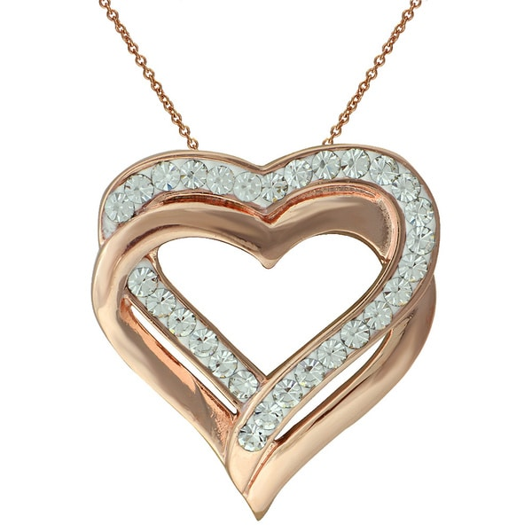 Rose Goldtone Brass Swarovski Crystal Double Heart Pendant Necklace