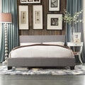 Queen Size Grey Linen Bed