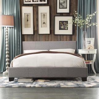Grey Fabric-wrapped King-size Linen Bed