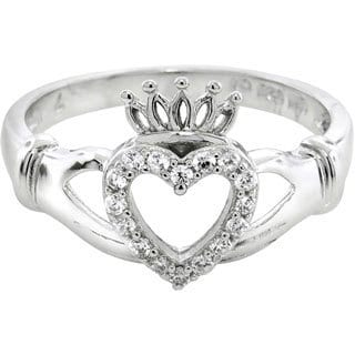Eternally Haute Sterling Silver Cubic Zirconia Pave Claddagh Loyalty Ring