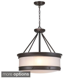 Nikolai 3-Light Oil Rubbed Bronze Pendant with Ribbed Glass Shade