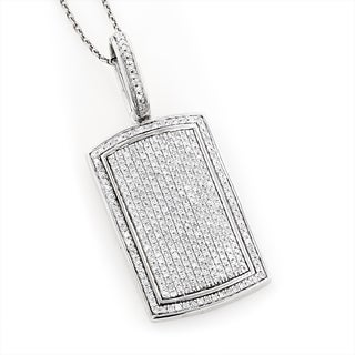 Luxurman 14K Gold Diamond Dog Tag Pendant