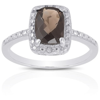 Dolce Giavonna Sterling Silver Smokey Quartz Diamond Accent Ring