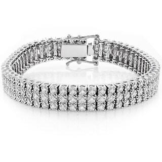 Luxurman 10K Gold 1.85 ct TDW Prong Diamond Three-row Tennis Bracelet (H-I, SI1-SI2)
