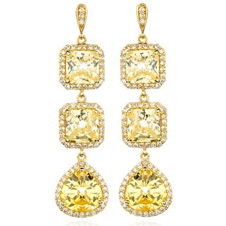 Sterling Gold over Silver Canary Cubic Zirconia Crop Earrings