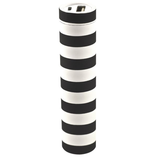 Lipstick Black and White Stripe Portable Charger with 2200mAh Battery