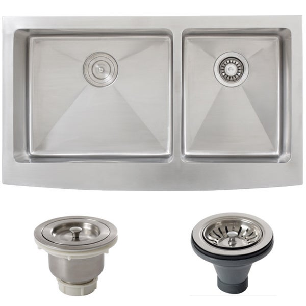 Stainless Steel Double Bowl Farmhouse Sink : Ticor Stainless Steel Undermount 36-inch Double Bowl Farmhouse Apron ...