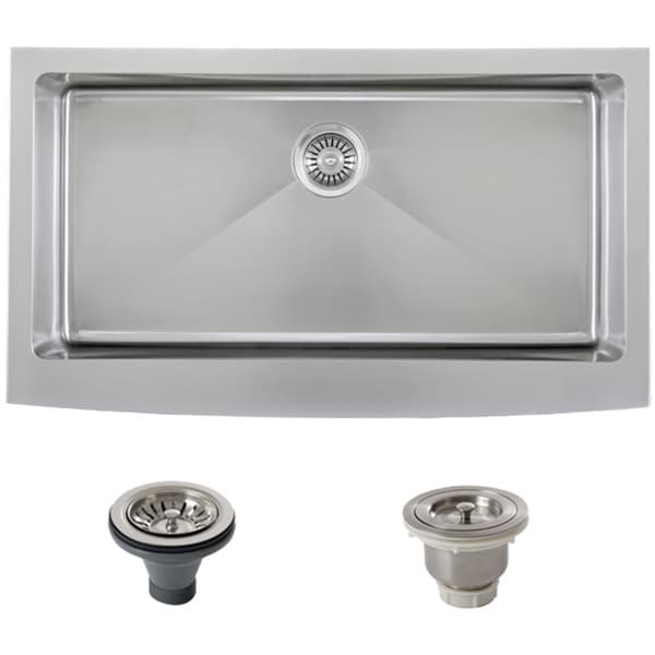 Stainless Steel Farm Sink 36 : ... Stainless Steel Curved Front Single Bowl Farmhouse Apron Kitchen Sink