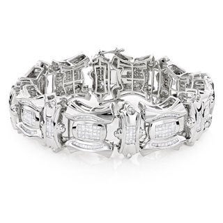 Luxurman 14K White Gold Men's 9.98 ct TDW Diamond Bracelet (H-I, SI1-SI2)