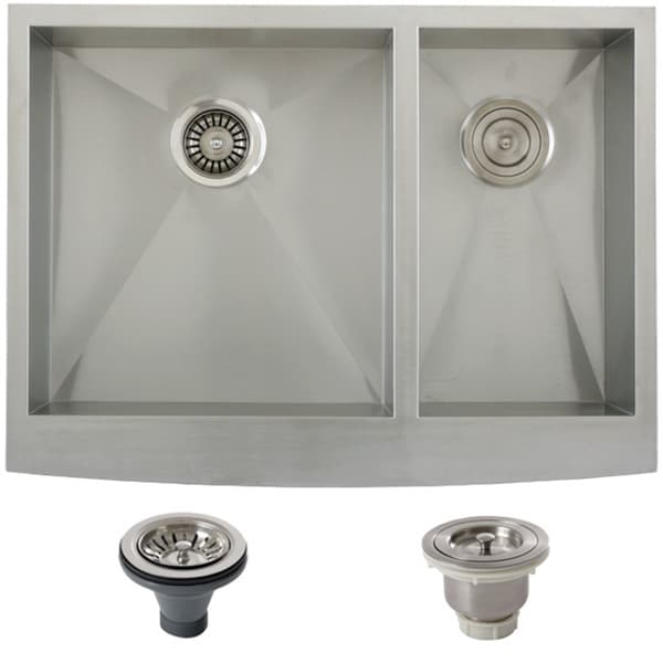 Stainless Steel Double Farmhouse Sink : Ticor Stainless Steel Undermount 30-inch Double Bowl Farmhouse Apron ...