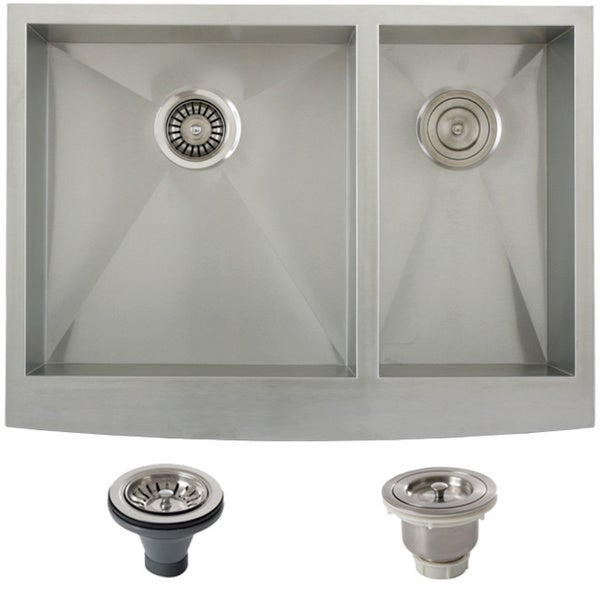 Stainless Steel Double Bowl Farmhouse Sink : Ticor Stainless Steel Undermount 30-inch Double Bowl Farmhouse Apron ...