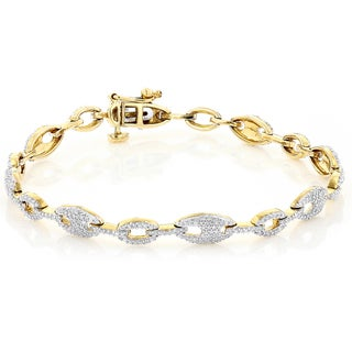 Luxurman 14K Yellow Gold 1.45 ct TDW Pave Diamond Bracelet (H-I, SI1-SI2)