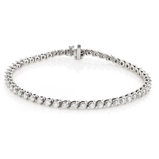Luxurman 14k White Gold 4 2/5ct TDW Round Diamond Tennis Bracelet (G-H, SI1-SI2)