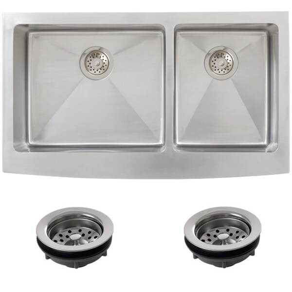 Ticor Stainless Steel Undermount 36 -inch Double Bowl Farmhouse Apron ...