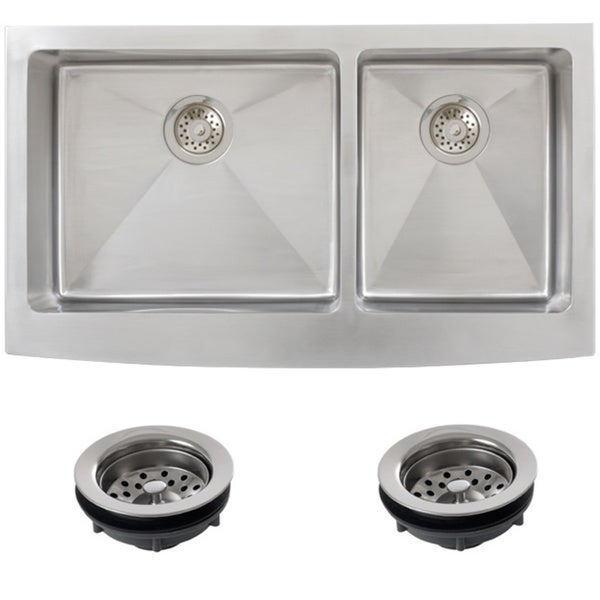 Stainless Steel Farmhouse Sink 36 Inch : Ticor Stainless Steel Undermount 36 -inch Double Bowl Farmhouse Apron ...