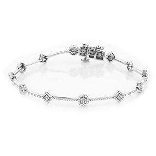 14k White Gold Luxurman Ladies 1.24ct. TDW Diamond Bracelet (H-I, I1-I2)