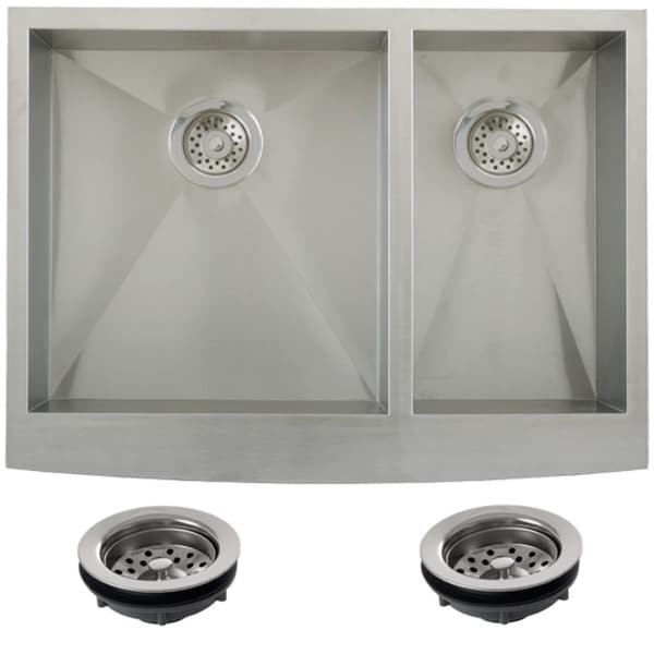 30 Inch Farmhouse Sink Stainless Steel : Ticor Stainless Steel Undermount 30-inch Double Bowl Farmhouse Apron ...