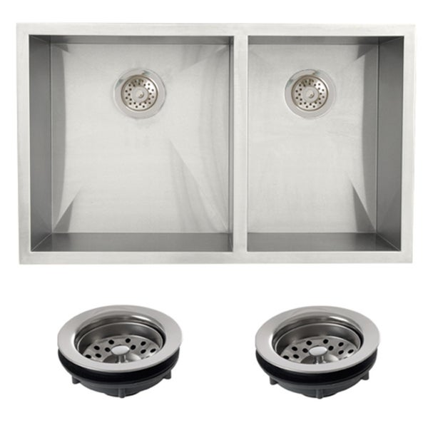 Stainless Steel Double Farmhouse Sink : ... Stainless Steel Undermount 33-inch Double Bowl Farmhouse Kitchen Sink