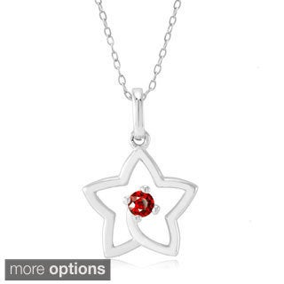 Sterling Silver Cubic Zirconia Birthstone Open Star Pendant
