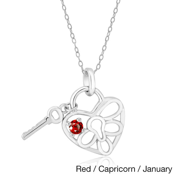 Sterling Silver Cubic Zirconia Heart Lock and Key Pendant Necklace