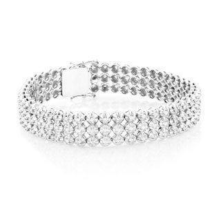 10k White Gold 4 3/4ct TDW Diamond 3 Row Mens Luxurman Bracelet