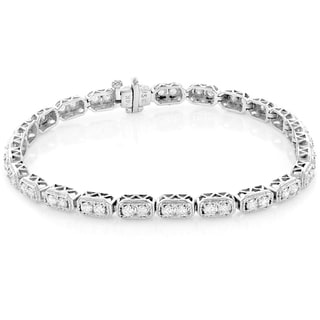 Luxurman 14k White Gold 2 1/6ct TDW Round Diamond Tennis Bracelet (H-I, SI1-SI2)
