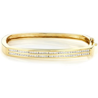 Luxurman 14k Yellow Gold 1ct TDW Diamond Bangle Bracelet (I-J, SI1-SI2)