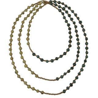 Onyx and Olive Seed Colorblock Rope Necklace (Ecuador)