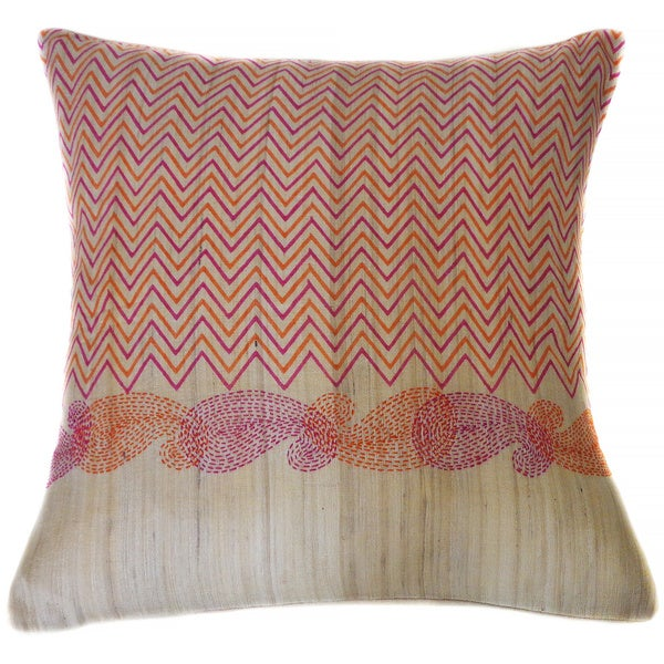 Jiti Paisley Purple Orange Square Linen Accent Pillow